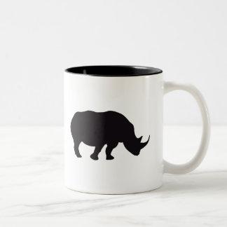 Rhino Vintage Wood Engraving Two-Tone Coffee Mug