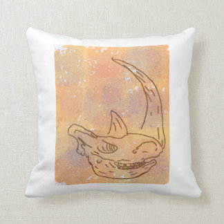 Rhino, watercolour earth red back throw pillow