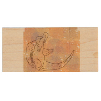 Rhino, watercolour earth wood USB 3.0 flash drive