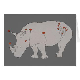 Rhino with Hearts Card