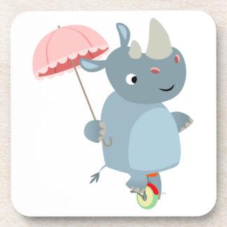 Rhino with Umbrella on Unicycle Coasters Set