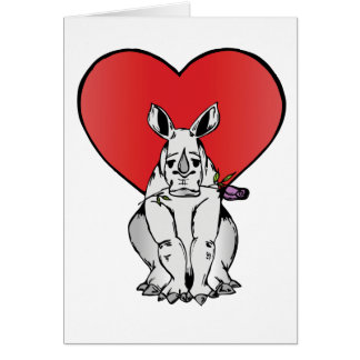 Rhino with Valentine s day heart Greeting Cards