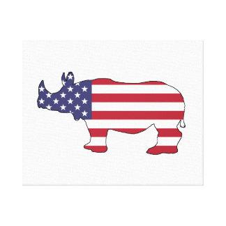 Rhinoceros - American Flag Canvas Print