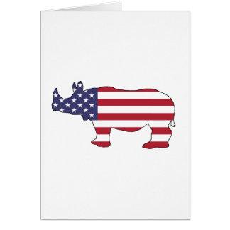 Rhinoceros - American Flag Card