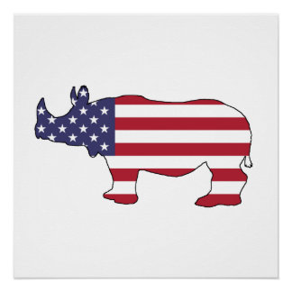 Rhinoceros - American Flag Perfect Poster