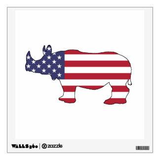 Rhinoceros - American Flag Wall Decal