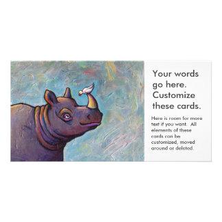 Rhinoceros art little bird gossip fun painting photo greeting card