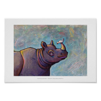 Rhinoceros art little bird gossip fun painting poster