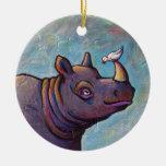Rhinoceros art little bird gossip fun painting round ceramic ornament