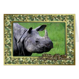 Rhinoceros Blank Christmas Card