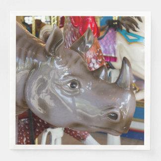 Rhinoceros Carousel Ride on Merry-Go-Round Paper Dinner Napkin