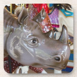 Rhinoceros Carousel Ride on Merry-Go-Round Photo Drink Coasters