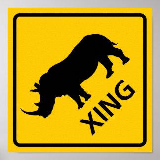 Rhinoceros Crossing Highway Sign