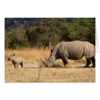 Rhinoceros Family Greeting Card