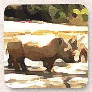 Rhinoceros from Safari Beverage Coasters