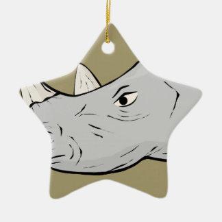 Rhinoceros Head Ceramic Star Ornament