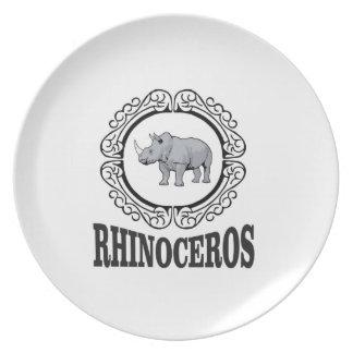Rhinoceros in the mug plate