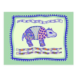 Rhinoceros Quilt Postcard