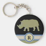 rhinoceros R letter Basic Round Button Keychain
