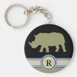 rhinoceros R letter Basic Round Button Keychain