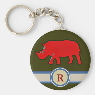 rhinoceros R name letter Keychain