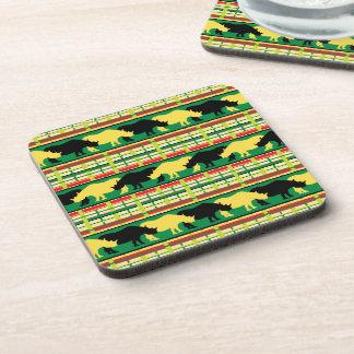 Rhinoceros Safari Weave Pattern Drink Coaster
