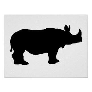 Rhinoceros silhouette poster