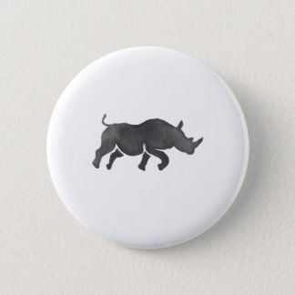 Rhinoceros Silhouette Running Watercolor 2 Inch Round Button