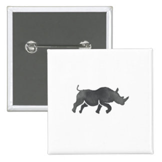 Rhinoceros Silhouette Running Watercolor 2 Inch Square Button