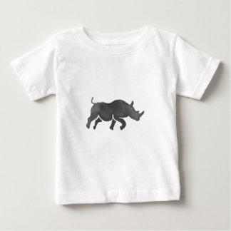 Rhinoceros Silhouette Running Watercolor Baby T-Shirt