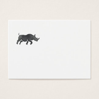 Rhinoceros Silhouette Running Watercolor Business Card