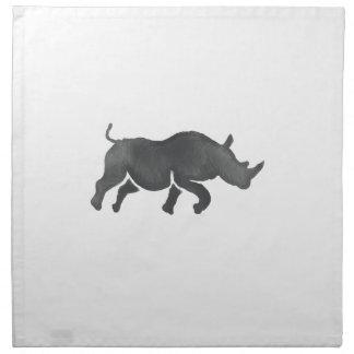 Rhinoceros Silhouette Running Watercolor Napkin