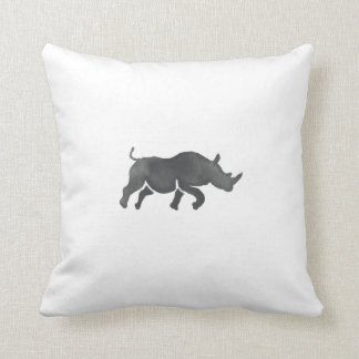 Rhinoceros Silhouette Running Watercolor Throw Pillow
