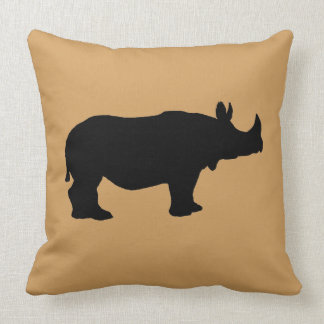 Rhinoceros silhouette throw pillow