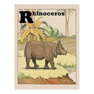 Rhinoceros Story Book Alphabet Postcard