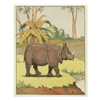 Rhinoceros Story Book Animal Illustrated Perfect Poster