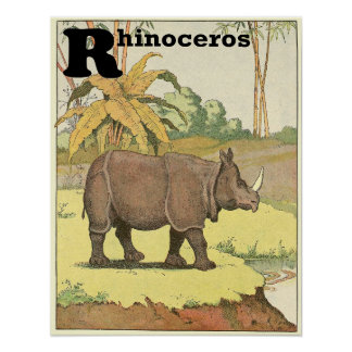 Rhinoceros Storybook Alphabet Poster