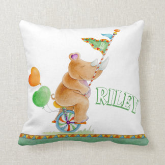 Rhinoceros unicycle watercolor circus name pillow