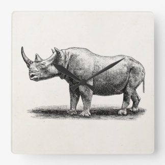Rhinocéros vintages de rhinocéros d'illustration d horloge carrée