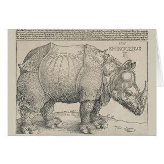 Rhinoceros, Woodcut by Albrecht Durer Card