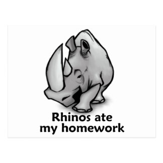 Rhinos Ate my Homework Postcard