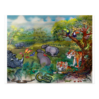 Rhinos Hippos and Tigers Postcard