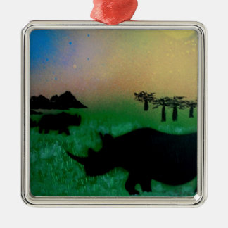 Rhinos in the sunset Silver-Colored square ornament