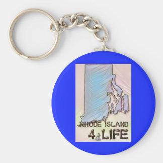 """""""Rhode Island 4 Life"""" State Map Pride Design Basic Round Button Keychain"""