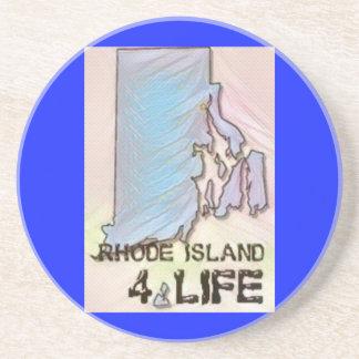 """Rhode Island 4 Life"" State Map Pride Design Coaster"