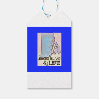 """""""Rhode Island 4 Life"""" State Map Pride Design Gift Tags"""