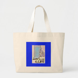 """Rhode Island 4 Life"" State Map Pride Design Large Tote Bag"