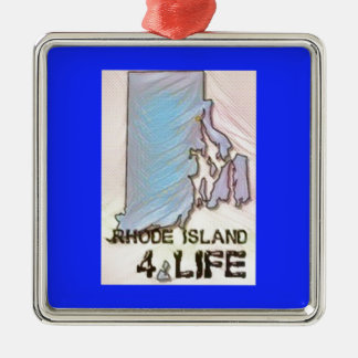 """Rhode Island 4 Life"" State Map Pride Design Metal Ornament"
