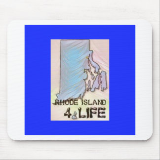 """Rhode Island 4 Life"" State Map Pride Design Mouse Pad"