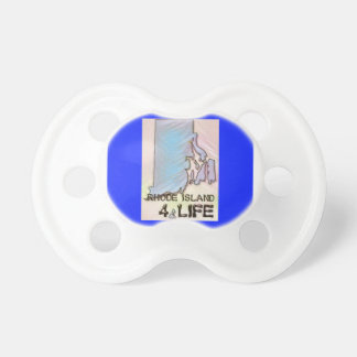 """""""Rhode Island 4 Life"""" State Map Pride Design Pacifier"""
